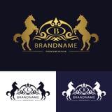 Monogrammlogo-Emblemschablone mit Pferd Würdevolles Luxusdesign Kalligraphischer Buchstabe B, L, r-Geschäftszeichen für Hotel, Re Lizenzfreie Stockfotos