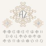 Monogrammschablone mit zwei Buchstaben in der Entwurfsart Satz Buchstaben von A zu Z Lizenzfreies Stockfoto