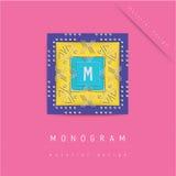 MONOGRAMpictogram in materiële ontwerpstijl Stock Fotografie