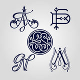 Monograms AF, DF, ES, GN and AM. Monograms can be used as ex-libris, logotype ets. The imprint, embroidery, embossing Stock Photos