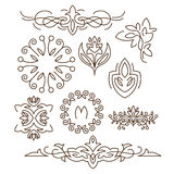 Monograms,line design elements for logos, frames. And borders in modern style vector set Stock Images