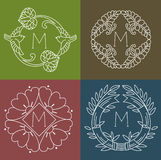 Monograms. Line Design Floral Elements For Logo, Frames And Borders In Modern Style. Stock Photos