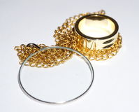 Monokel und goldener Ring Lizenzfreies Stockbild