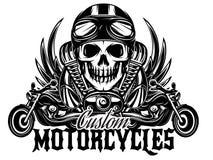 Monokrom bild för vektor med skallar, motorcyklar, vingar, motor royaltyfri illustrationer