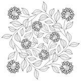 Monokrom blom- bakgrund för vektor Arkivfoto