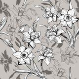 Monokrom blom- sömlös modell med utdragna blommapåskliljor för hand, pingstlilja arkivfoton
