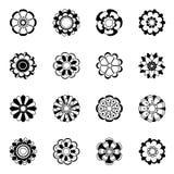 Monokrom blom- symbolsuppsättning Den svarta vektorn blommar illustrationisolaten stock illustrationer
