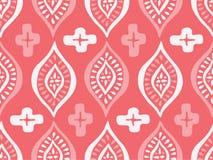 Monokrom Coral Ethnic Handdrawn Diamonds Vector sömlös modell Vit och rosa elegant traditionell bakgrund royaltyfri illustrationer