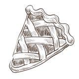 Monokrom för bageri för deg för sötsakpajskiva skissar översikten vektor illustrationer