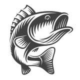 Monokrom fiskbaslogo Royaltyfri Fotografi