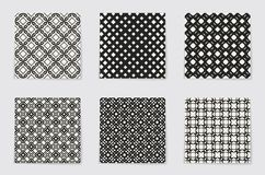 Monokrom geometrisk modell för abstrakt begrepp Svartvit minsta bakgrund Idérik illustrationmall seamless Arkivfoto