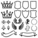 Monokrom heraldisk beståndsdelsamling för tappning stock illustrationer