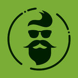 Monokrom hipster med skägget, exponeringsglas, frisyr, mustascher Silh stock illustrationer