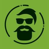 Monokrom hipster med skägget, exponeringsglas, frisyr, mustascher Silh royaltyfri illustrationer