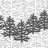 Monokrom horisontalsömlös modell med julgranar royaltyfri fotografi