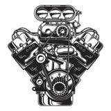 monokrom illustration av bilmotorn Arkivfoto