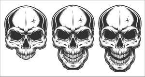 Monokrom illustration av skallen Arkivfoto
