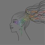 Monokrom illustration med profil Royaltyfri Fotografi