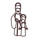 Monokrom kontur med den St Joseph och jesus pojken royaltyfri illustrationer