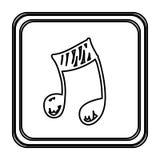 monokrom kontur med knappen av den drog handen för musikalisk anmärkning Royaltyfri Foto