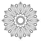 Monokrom mandala för färgbok Fotografering för Bildbyråer