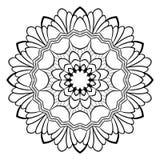 Monokrom mandala för färgbok En modell i cirkeln illu Royaltyfri Bild