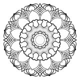 Monokrom mandala för färgbok En modell i cirkeln illu Royaltyfri Fotografi