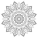 Monokrom mandala för färgbok Symmetrisk modell i cien Fotografering för Bildbyråer