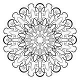 Monokrom mandala för färgbok Symmetrisk modell i cien Arkivfoton