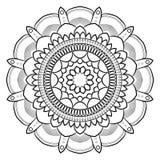 Monokrom mandala för färgbok Symmetrisk modell i cien Arkivbild