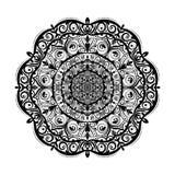 Monokrom mandalaklotterbeståndsdel i bohostil Den dekorativa runda modellen, blommamandalaen, etnisk prydnad, snör åt servetten vektor illustrationer