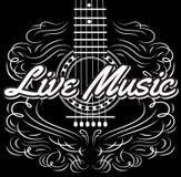Monokrom redigerbar mall för vektor för inbjudandesignen för levande musik för aftongitarr royaltyfri illustrationer