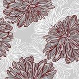 Monokrom sömlös bakgrund med blommor. Vektorillustration Royaltyfri Foto
