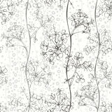 Monokrom sömlös modell av abstrakta blommor Hand-drog flor stock illustrationer