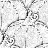 Monokrom sömlös modell för vektor med dekorativ pumpa royaltyfri illustrationer