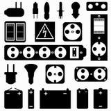 Monokrom samling för elektrisk utrustning av symboler stock illustrationer