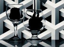 Monokrom stilleben framme av modellbakgrund Arkivfoton