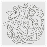 monokrom symbol med celtic konst- och person som tillhör en etnisk minoritetprydnader Royaltyfri Foto