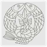 monokrom symbol med celtic konst- och person som tillhör en etnisk minoritetprydnader Royaltyfri Bild
