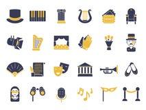 Monokrom symbolsuppsättning av teatertemat royaltyfri illustrationer