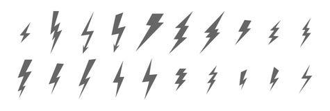 Monokrom uppsättning av exponering, blixt, elkraft, åska, symboler av olika typer och format av mörkt - grå färg stock illustrationer