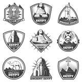 Monokrom uppsättning för forntida Egypten för tappning etiketter royaltyfri illustrationer