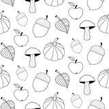 Monokromma Autumn Seamless Pattern Arkivbild