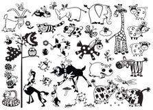 Monokromma barnsliga djur Arkivfoto
