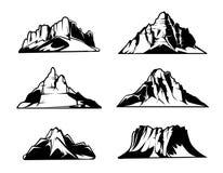 Monokromma bergvektorkonturer Snöig bergskedjor Utomhus- designbeståndsdeluppsättning stock illustrationer