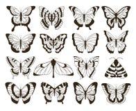 Monokromma fjärilar Svartvit teckning, för tatueringformer för hand utdragen samling för tappning Isolerad vektorfjäril royaltyfri illustrationer