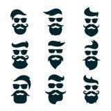 Monokromma hipstersframsidor ställde in med olika skägg, exponeringsglas, mummel vektor illustrationer
