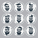 Monokromma hipstersframsidor ställde in med olika skägg, exponeringsglas, mummel stock illustrationer