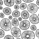 Monokromma organiska rundor Handdrawn abstrakt bakgrund med celler stock illustrationer