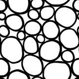 Monokromma organiska rundor Handdrawn abstrakt bakgrund med celler vektor illustrationer